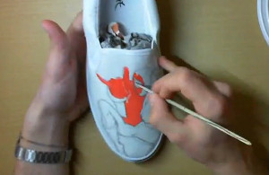 Pintando Zapatos spiderman