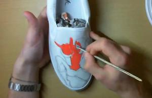 Pintando Zapatos spiderman